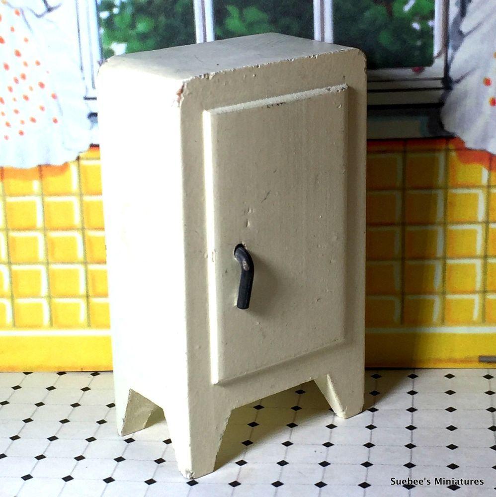 Kage 1938 48 RARER KITCHEN REFRIGERATOR Vintage Wooden Dollhouse Furniture 1 :16