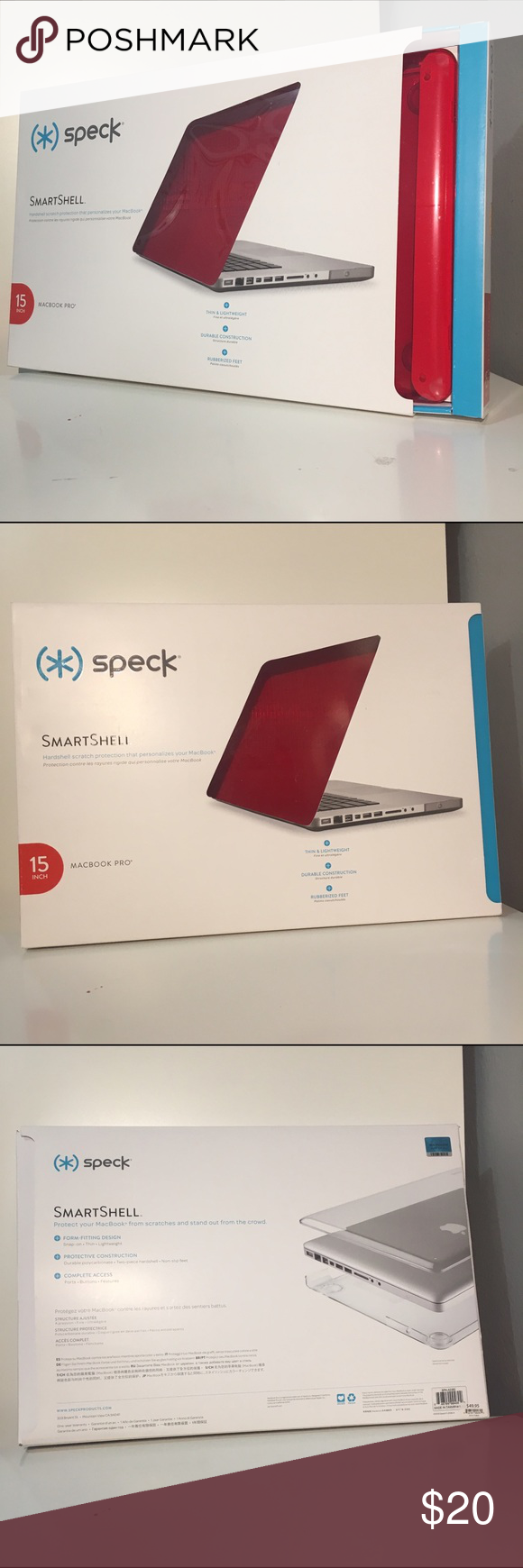 """15"""" MacBook Pro Speck Case 15"""" MacBook Pro Speck Case is in the color 'Poppy Red'. It is new and never been used in the box. The case protects your MacBook from scratches. The case is form-fitting and snaps onto the laptop. It is made of durable polycarbonate and has non-slip feet. There is complete access to ports, buttons, and features of the laptop. The case is very thin, perfect for on the go! If you have any questions comment down below! ☺️ Accessories Laptop Cases"""