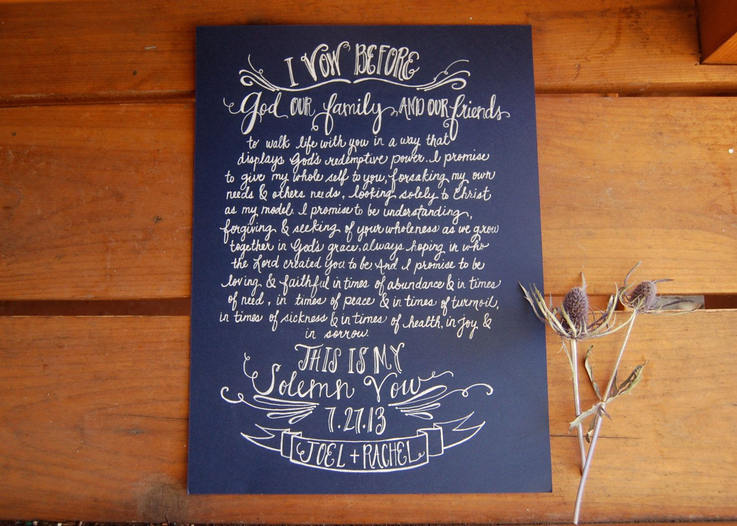 Bride and Groom\'s vows written out in a beautiful art form! Painting ...
