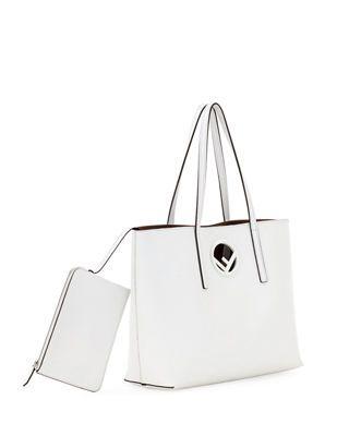 fbc36fd180e1 Fendi F Logo Calf Leather Shopping Tote Bag