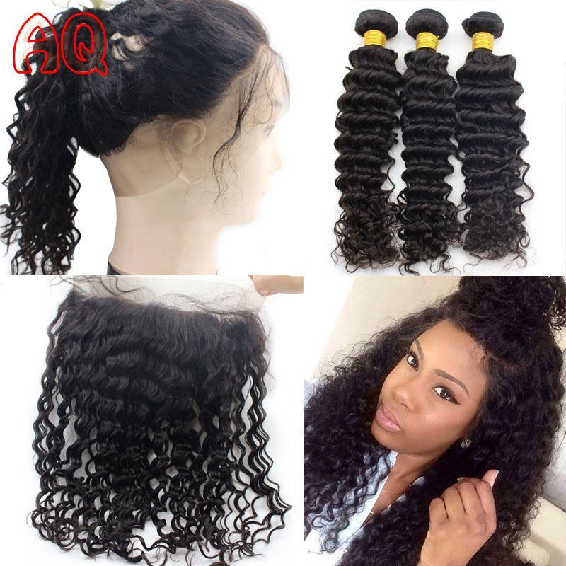 Aliexpress.com : Buy 7A 360 Lace Frontal With Bundles Deep Wave Virgin Brazilian  Hair