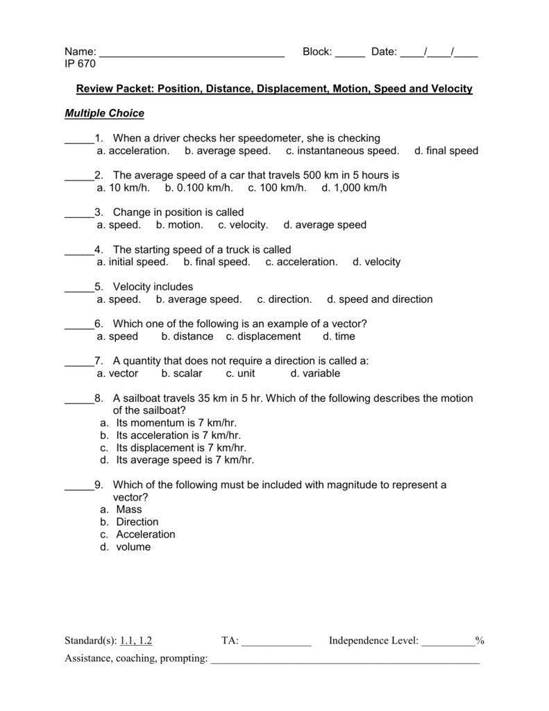 Distance And Displacement Worksheet Answers Just Before Talking