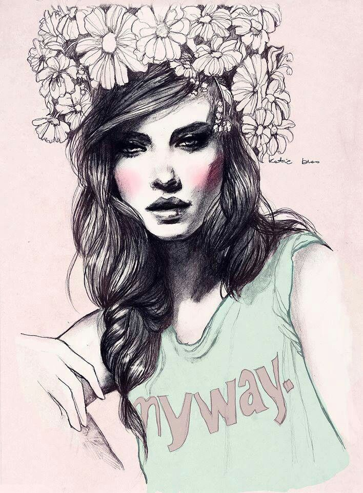 ~✿ Amazing Pencil Drawing ღ Women With Flower Headband ✿~