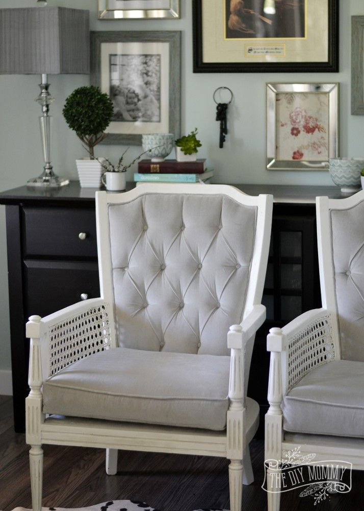 A Vintage Cane Chair Pair Makeover In Grey Velvet