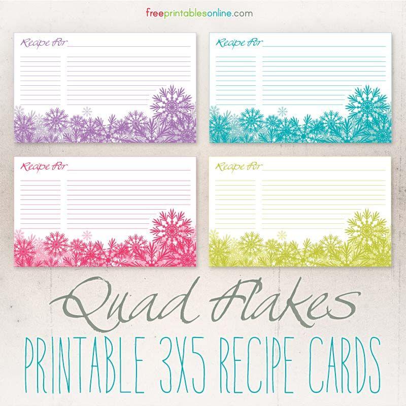 Snowflakes Blank Christmas Recipe Cards Recipe Cards Template Christmas Recipe Cards Recipe Cards Printable Free