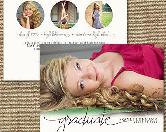 Graduation Invitation Card - Printable, Custom - DIY, MODERN, Design #21, Photo, Trendy, Spring, Summer, 2015 Graduate, Senior, Announcement