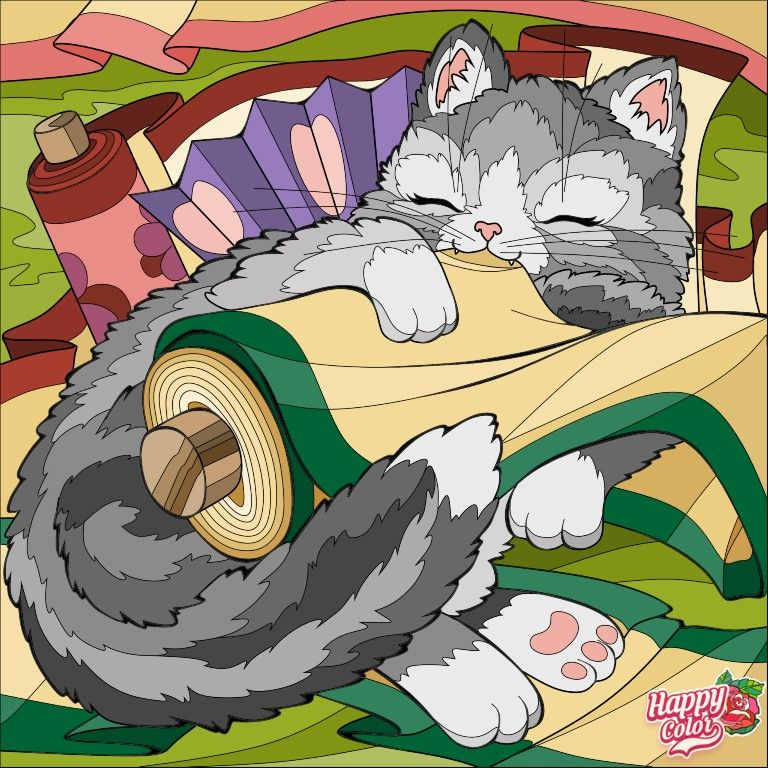 Coloring The Cat ระบายส แมว In 2021 Colorful Art Happy Colors Coloring Books