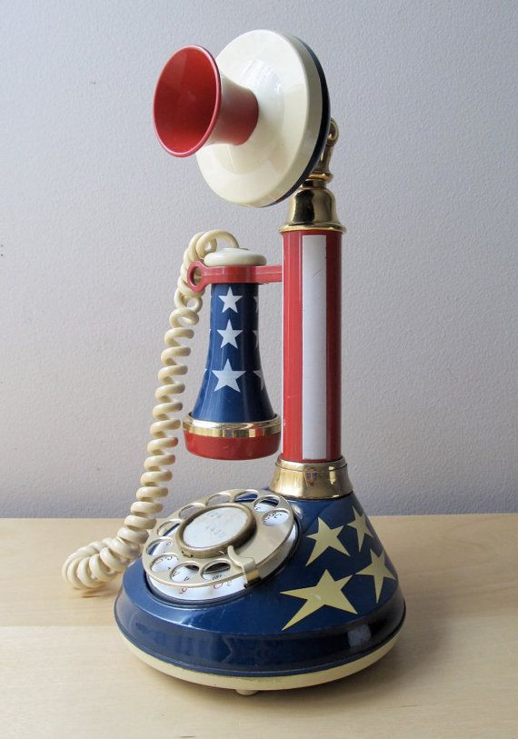 Stars And Stripes Candlestick Rotary Telephone Blue Candlesticks Vintage Telephone Red White Blue