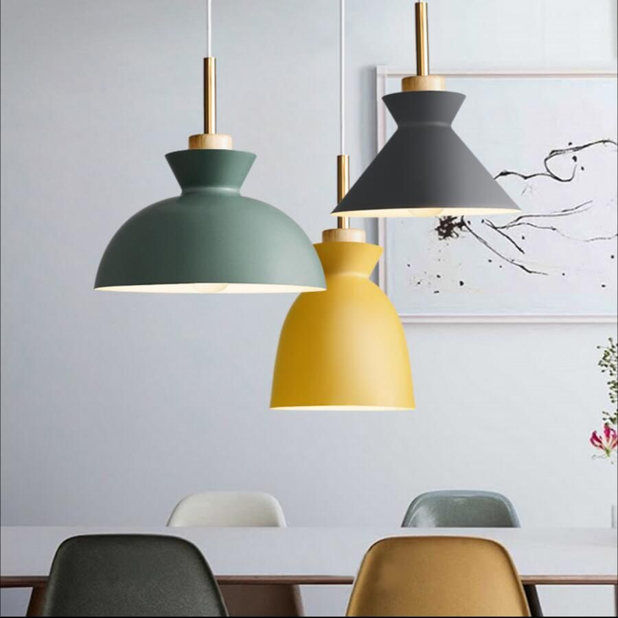 Fashion indoor lighting pendant lights wood and aluminum lamp