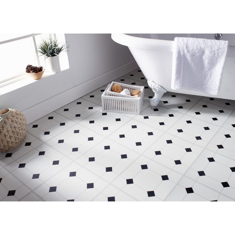 Self Adhesive Floor Tiles Black White Diamond Effect These
