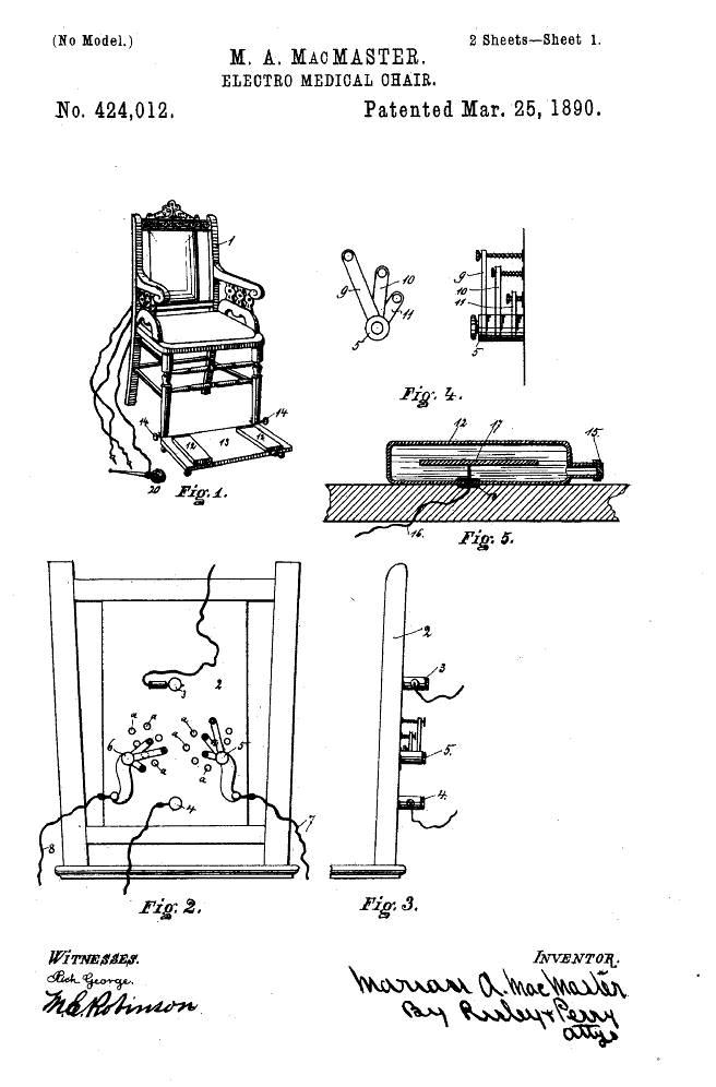 Electro Luxurious 14 The Happy Electric Chair 1890 Patent Drawing Science Books Electric Chair