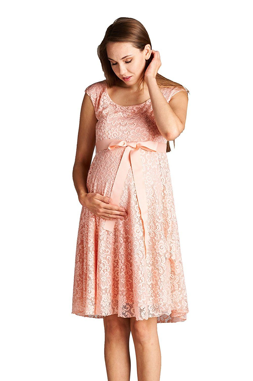 91ba350fcc8 Hello Miz Maternity Floral Lace Baby Shower Party Cocktail Dress with Ribbon  Waist at Amazon Women s Clothing store