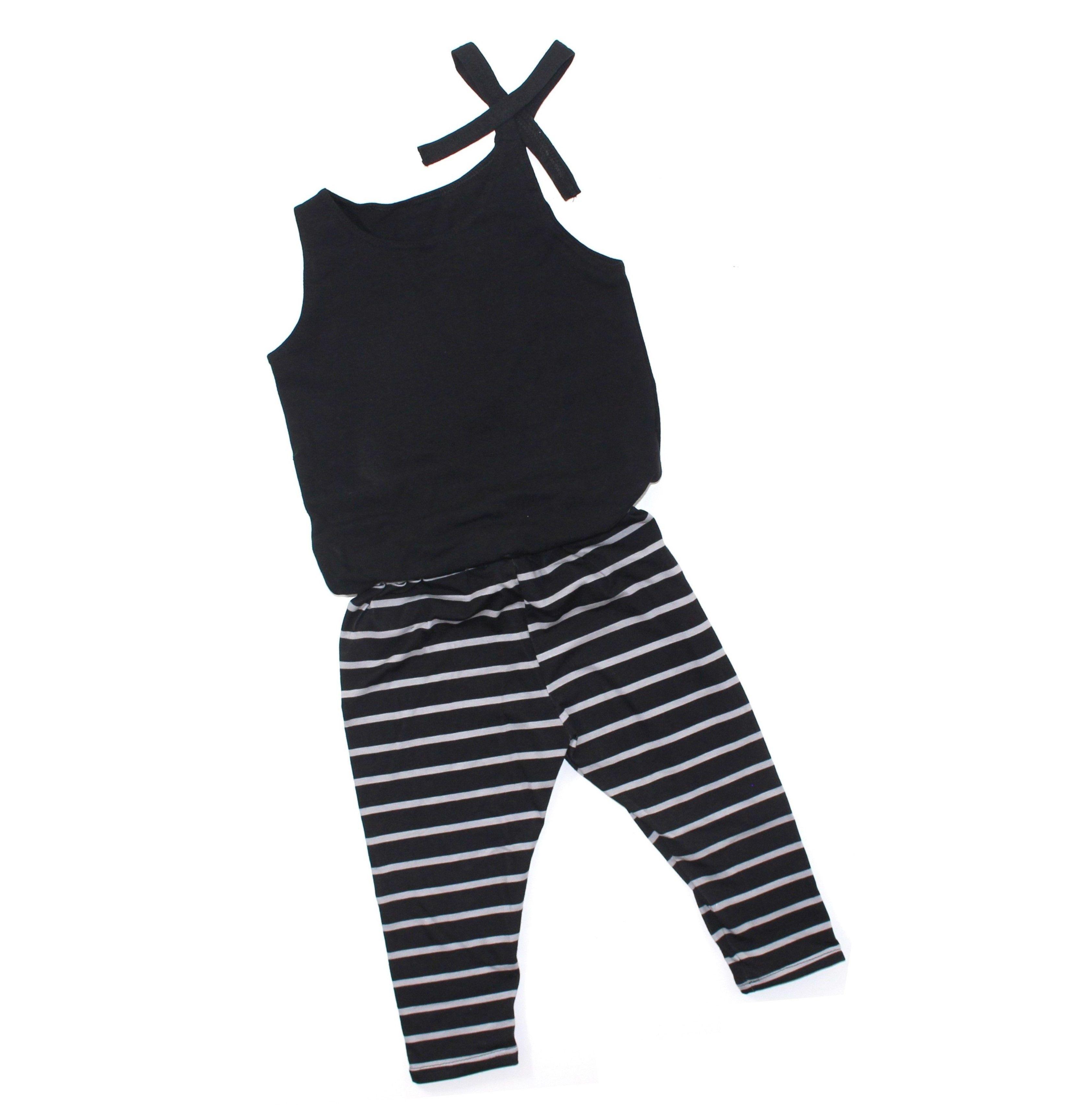 Girls black & gray stripe capri jump suit 0 3 m 6t