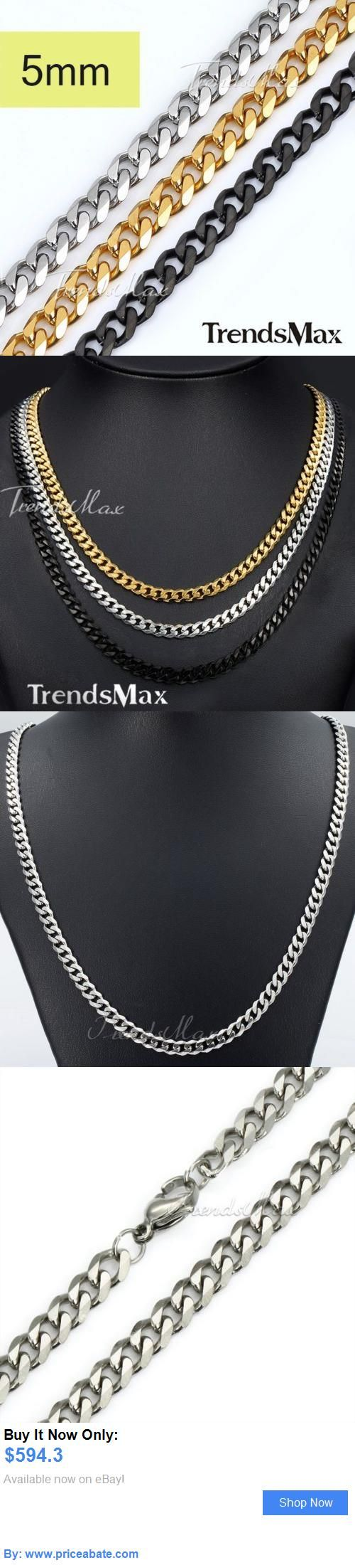 Men jewelry mm mens chain boys curb link silver gold black