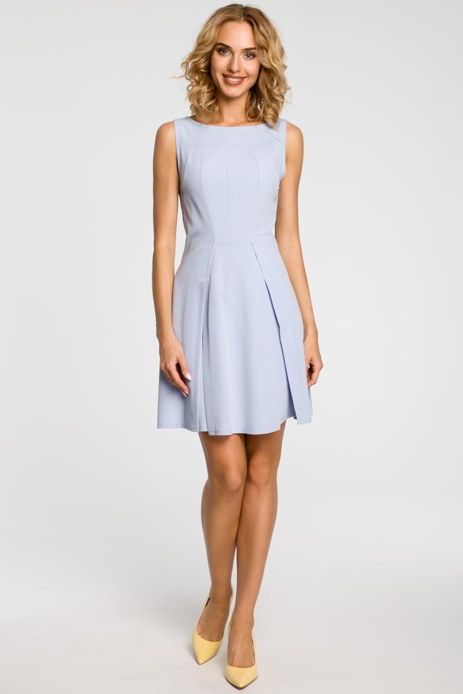 Sukienka Rozkloszowana Z Przeszyciami Blekitna Mo188 Fashion Dresses Fashion Dresses