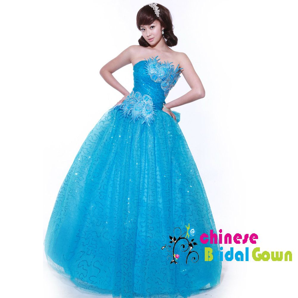 Style great organza ball gown strapless chinese wedding dress