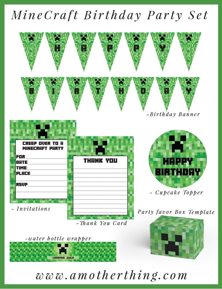 Free Minecraft Printable Birthday Bundle Minecraft printable - mine craft invitation template