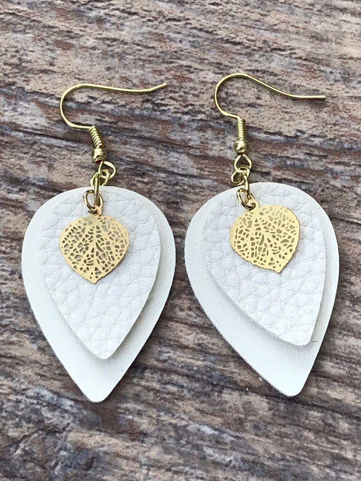 Faux leather earring Faux leather teardrop earrings White