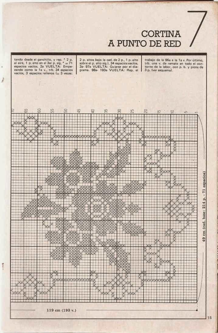 Patrón #456: Cortina a punto de red a Crochet | CTejidas [Crochet y ...