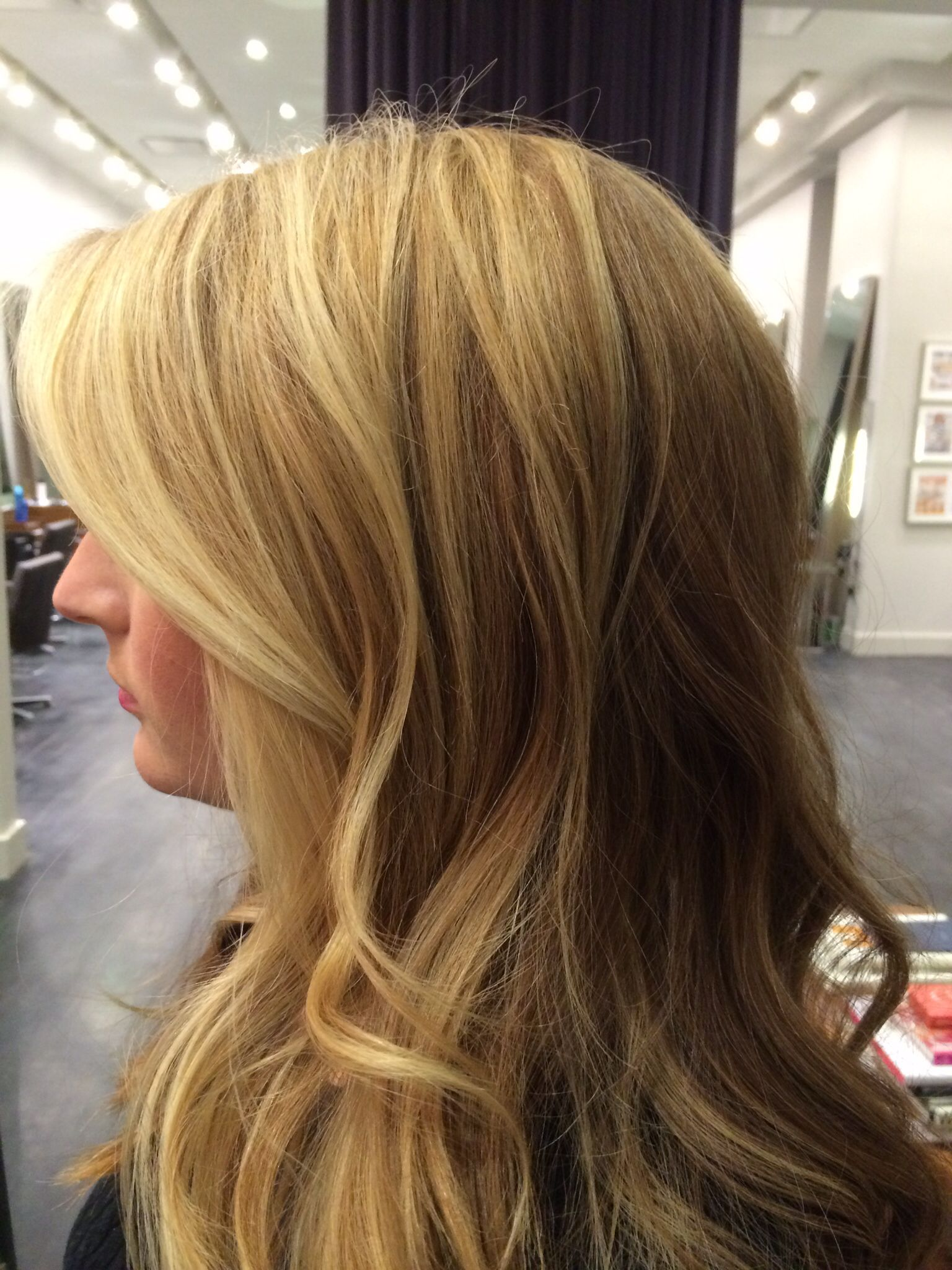 Golden Blonde Balayage From A Natural Level 5 Med Dark Brown