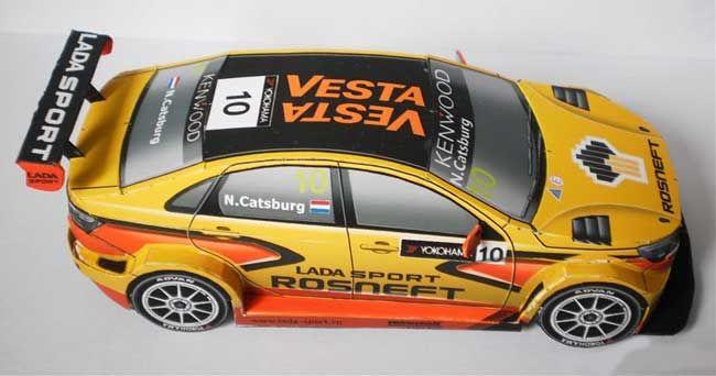 2015 Lada Vesta WTCC Paper Car Free Vehicle Paper Model