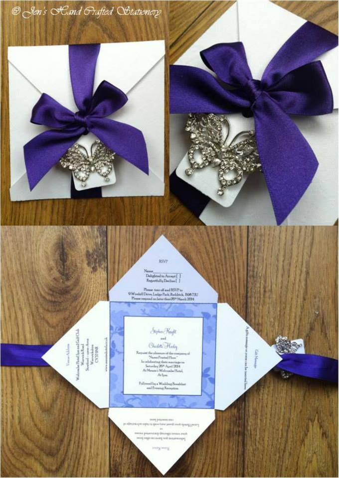 Cadburys purple vintage butterfly Fold Over Wedding Invitation www ...