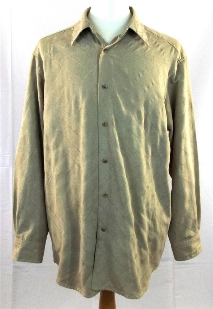 Claiborne Mens XL Extra Large Beige Tan Long Sleeve Classic Fit Shirt   #CrazyHorse