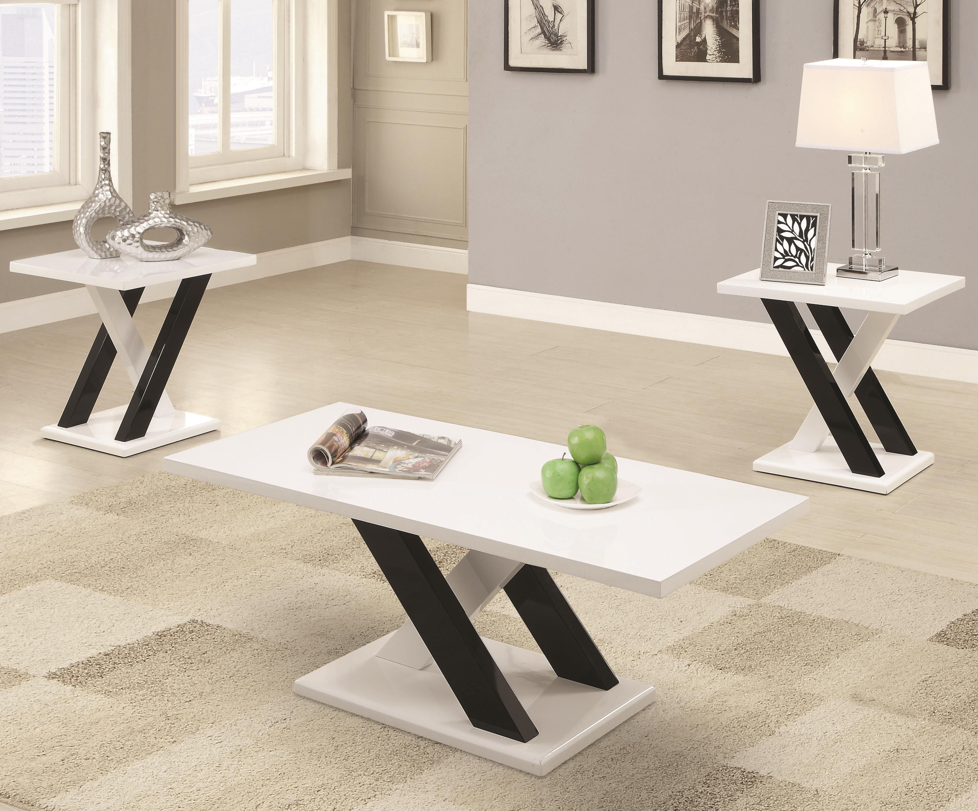 Coaster furniture black white wood rectangle 3pc