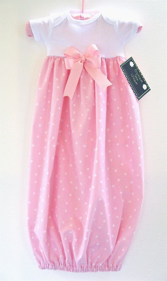 Boutique Layette Gown, Newborn Layette Gown, Polka Dot Layette Gown ...