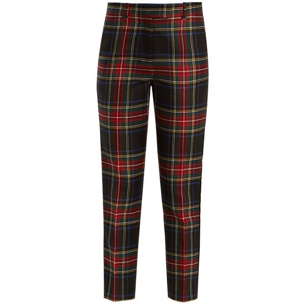 Racil Aries tartan-checked slim-leg wool trousers (€345) ❤ liked on Polyvore featuring pants, capris, hlače, black multi, high waisted pants, slim fit tuxedo pants, slim fitted pants, cropped capri pants and high-waisted trousers