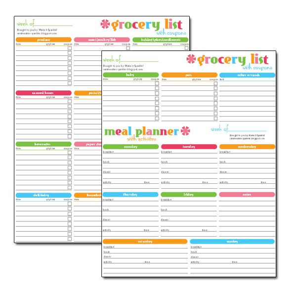 Make it sparkle! Free Printable Grocery and Menu Super Planner