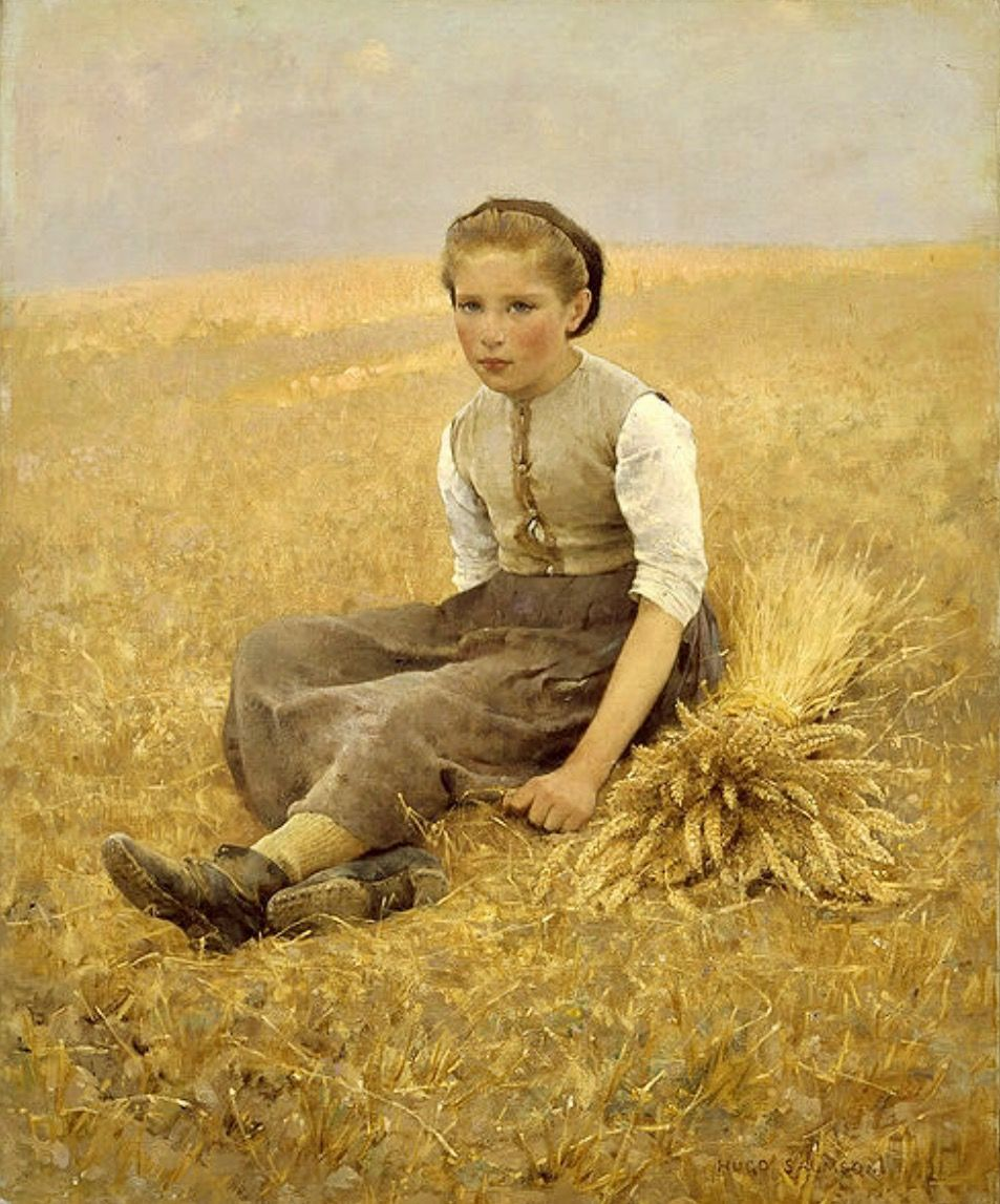 The Little Gleaner 19th Century Hugo Salmson Swedish Oil On Canvas Swedish National Museum Stockholm Painting Scandinavian Art Poster Prints