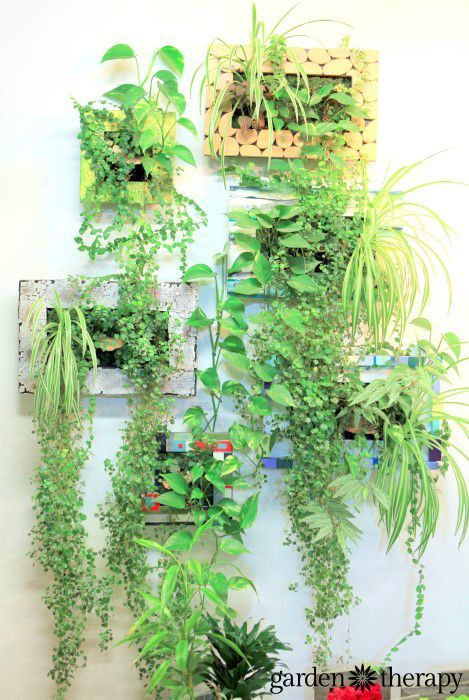 Custom artist designed vertical planters and lots more indoor vertical wall garden inspiration in this post - bring the outdoors in!