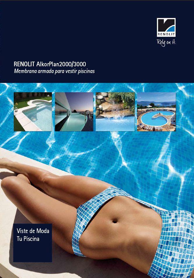 portada del nuevo catálogo de membran armada RENOLIT ALKORPLAN2000-3000  Lo puedes encontrar en www.piscinas-alkorplan.com