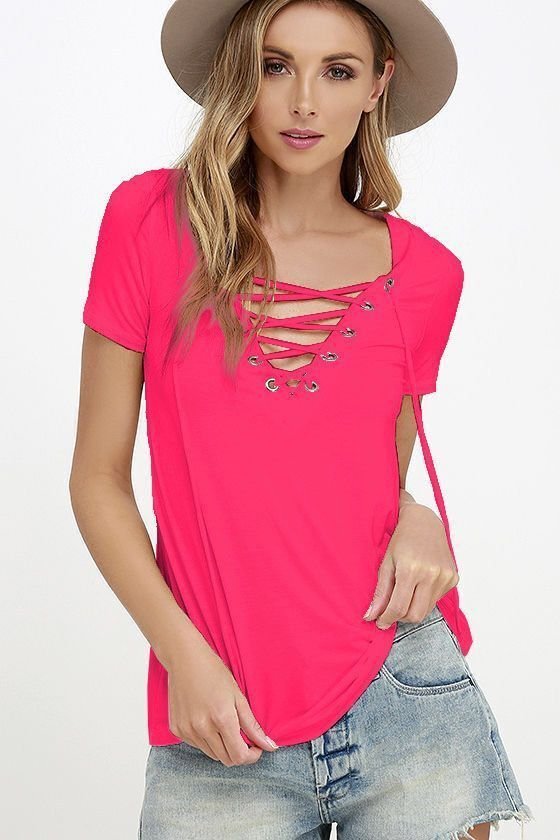 35f9a552f8 Summer Fashion Women T-shirts Short Sleeve Sexy Deep V Neck Bandage Shirts  Women Lace Up Tops Tees T Shirt plus size LJ3422M