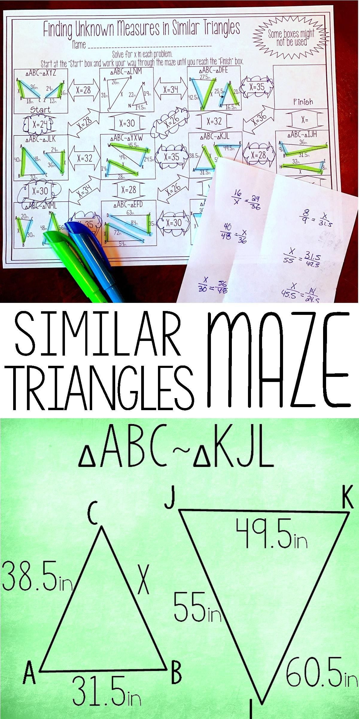 Finding Unknown Measures In Similar Triangles Maze Worksheet Math