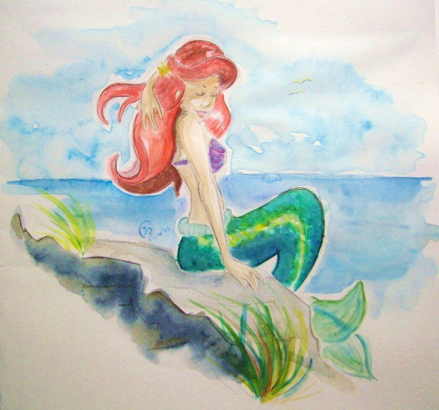 "I bought ""real watercolours"" and now I´m proud to present the result of my first experiment with ´em hope you like it ! Ariel (c) Disney"