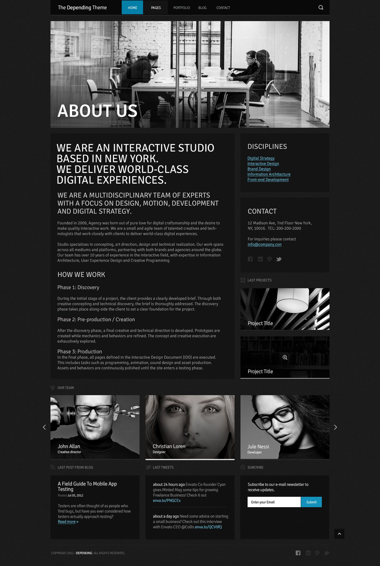 The Depending Theme Mojo Themes Design Webdesign Template Web Graphic Psd Photoshop Website Dark T Website Inspiration Web Design Digital Strategy