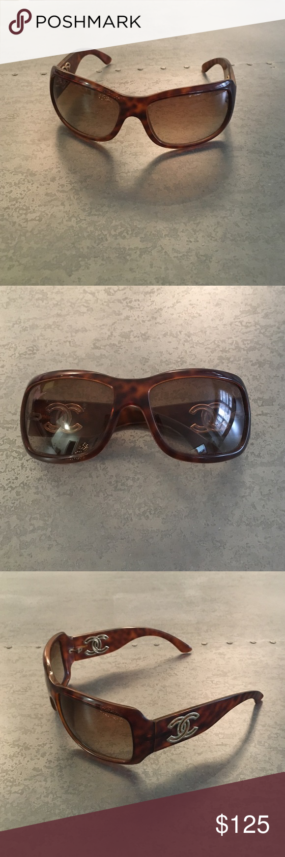 Chanel sunglasses Tortoise shell frames with deep brown lenses and gold C accents. Minor scratch on the right lens and slight wear on the gold C's. Come with soft case. CHANEL Accessories Sunglasses