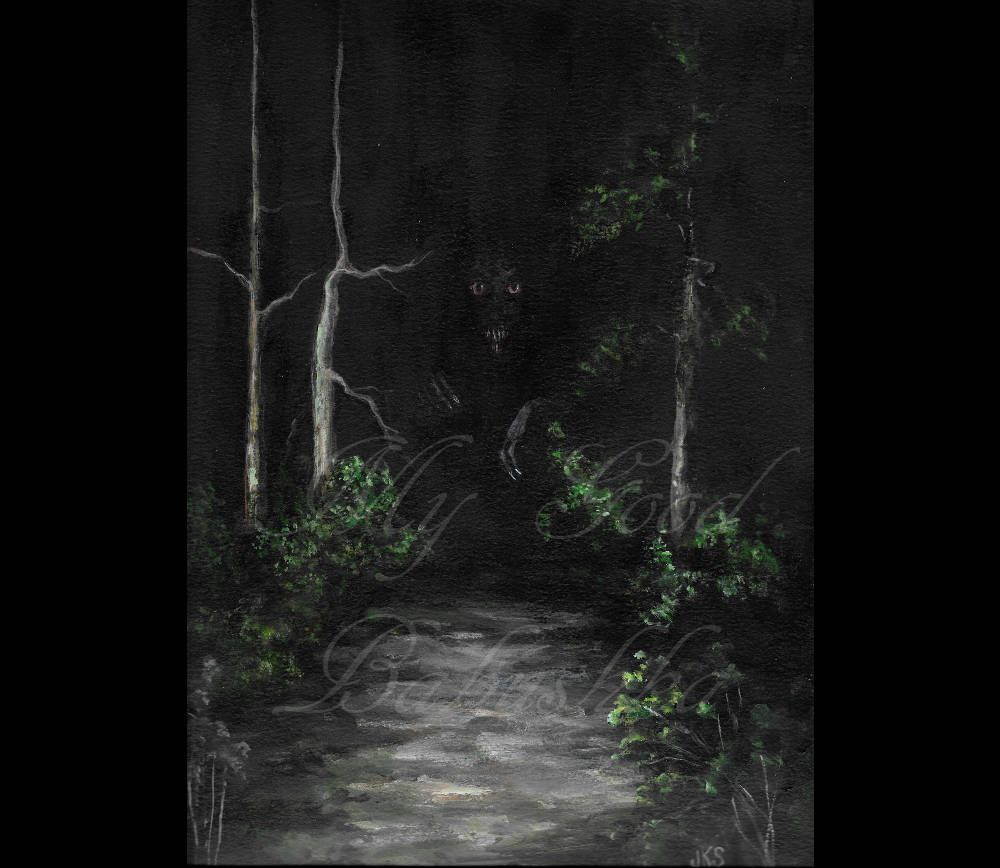 Forest Path At Night Original Painting Spooky Darkness Monster Woods Creepy Macabre Horror Art Creature By Mygoodbabushka On Etsy