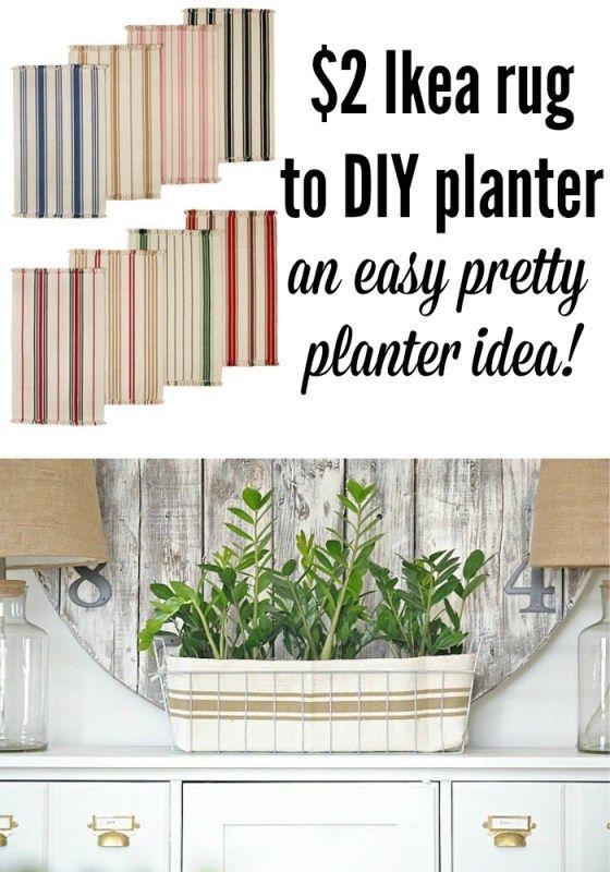 $2 Ikea Rug to DIY planter -