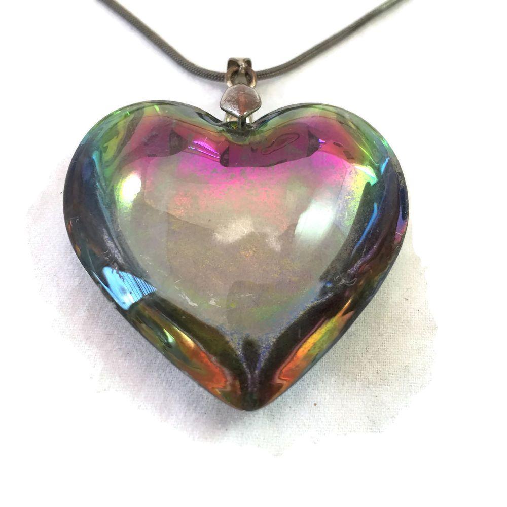 Large iridescent heart glass pendant tarnished silver style large iridescent heart glass pendant tarnished silver style necklace multicolored carnival heart puffy heart pendant puffed heart pendant aloadofball Gallery