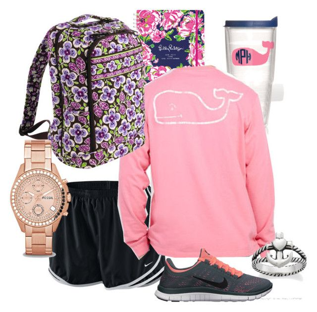 """Preppy School Days"" by stuckinthesplits ❤ liked on Polyvore featuring moda, NIKE, Tervis, Vineyard Vines, Vera Bradley, Avery, FOSSIL, women's clothing, women e female"