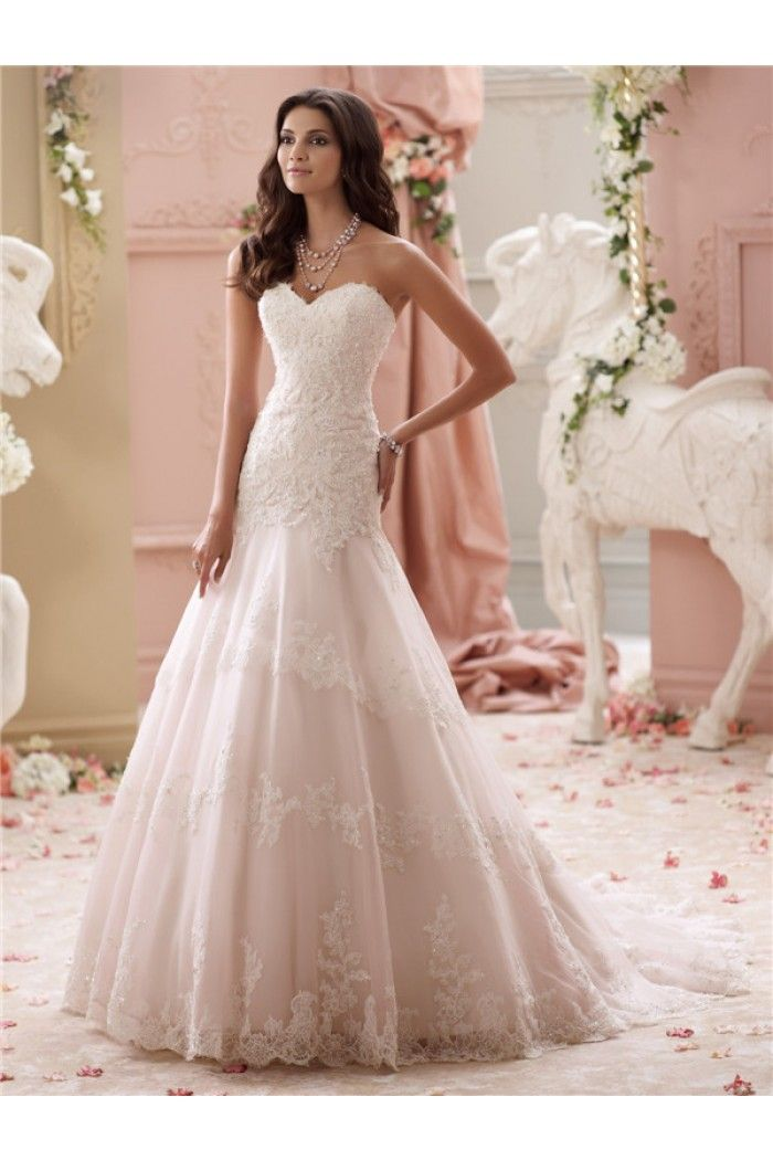 569d5e40add5 Trumpet Strapless Sweetheart Blush Pink Lace Wedding Dress With Buttons