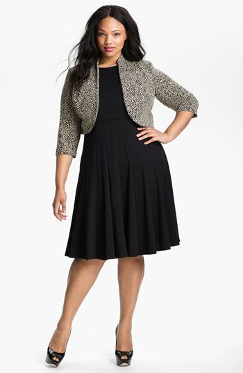 379954ef09627 Eliza J Sleeveless Fit   Flare Dress with Bolero Jacket (Plus size)  available at  Nordstrom
