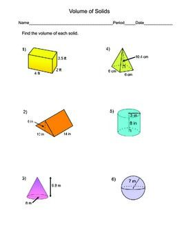 Volume Of Solids Worksheet Prisms Cylinders Cones Pyramids