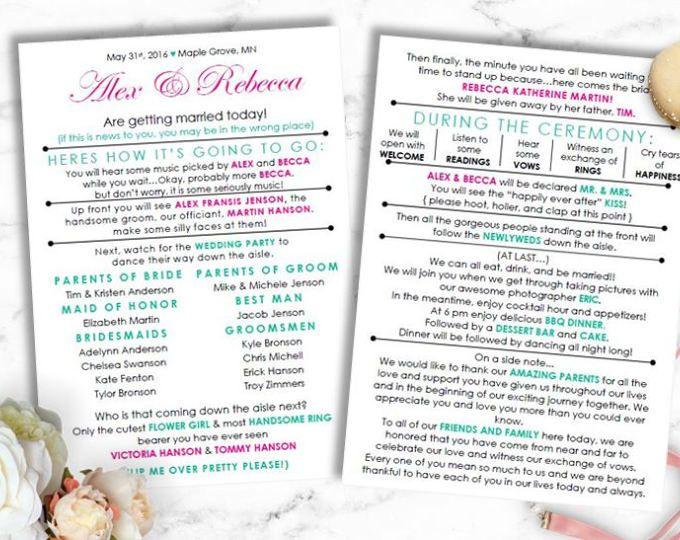 Funny Wedding Program Instant Download Barn Laid Back DIY