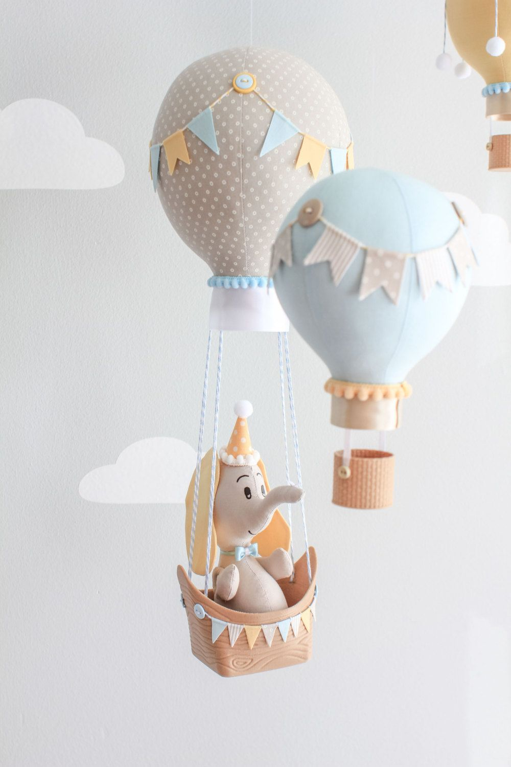 Hot Air Balloon Baby Mobile, Giraffe and Elephant Nursery