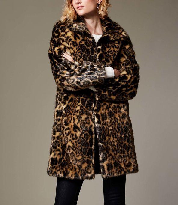 43e939fa27f0 Karen Millen, Longline Faux Fur Coat Leopard Print | LEOPARD PRINT ...