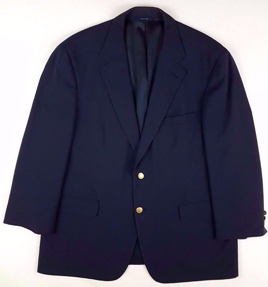 BROOKS Brothers BLAZER 44 Short BLUE Navy GOLD Tone METAL Buttons ...
